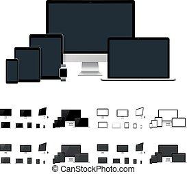 gabarits, mobile, tablette, smartwatch, bureau, réaliste, vecteur, informatique, ordinateur portable