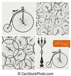 gabarits, motifs, vieille bicyclette, seamless