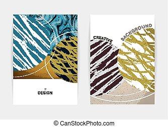 gabarits, résumé, shapes., couverture, créatif, fond, textured, design.