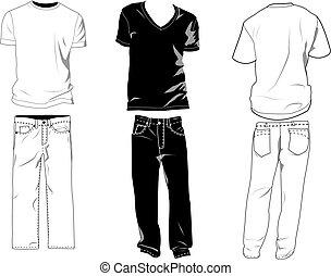gabarits, t-shirt, pantalon