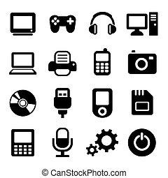 gadget, multimédia, ensemble, icônes