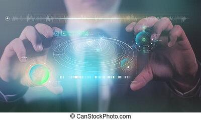 gadget, sien, hands., homme, tient, avenir