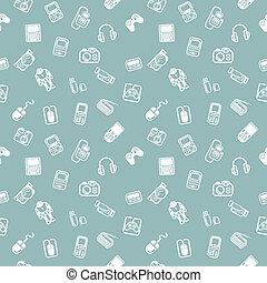 gadgets, fond, seamless, texture