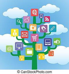gadgets, symbols., arbre, icônes ordinateur