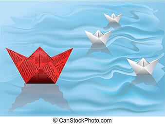 gagnant, bateau, papier