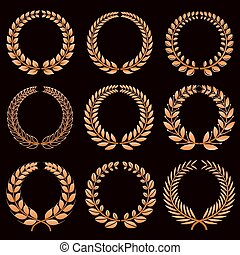 gagnant, ensemble, or, couronnes, étiquettes, vecteur, laurier