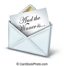 gagnant, enveloppe, récompense
