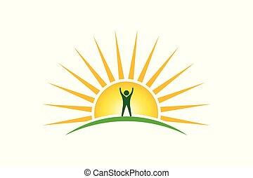 gagnant, espoir, force, gens, concept, soleil, logo., matin