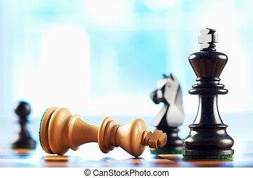 gagnant, roi, defeats, échecs, blanc