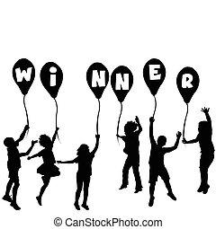 gagnant, silhouettes, concept, ballons, enfants