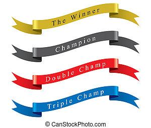 gagnant, vecteur, ensemble, champion, ruban