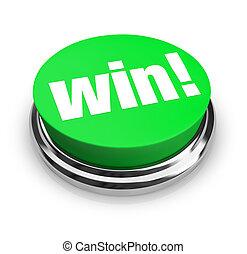 gagner, bouton, -, vert