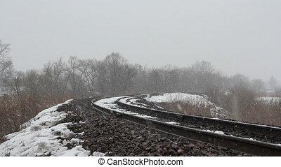 gagner, chemin fer, neige, jour
