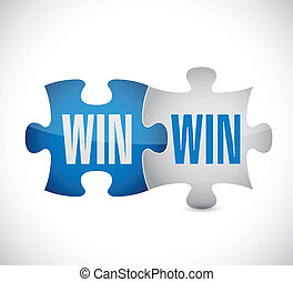 gagner, puzzle, conception, illustration