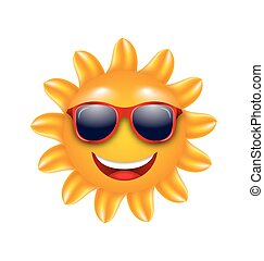 gai, été, soleil, lunettes soleil, figure
