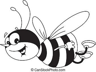 gai, esquissé, abeille