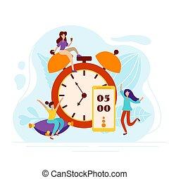 gai, horloge, matin, reveil, illustration, vecteur, charger, homme, humeur, style., oreiller, monter, caractères, quotidiennement, sous, téléphone., plat