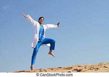 gai, infirmière, sauter, plage
