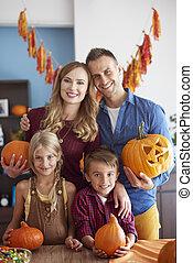 gai, pendant, halloween, portrait famille