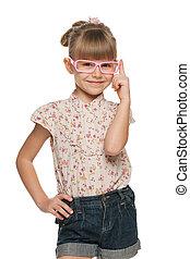 gai, petite fille, lunettes