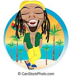gai, plage paume, arbre, rastafarian