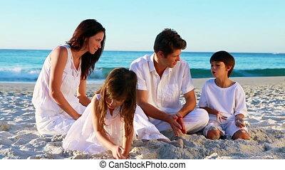 gai, séance, famille, sable