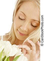 gai, tulipes, blanc, blonds