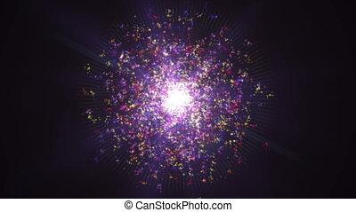 galaxie, nébuleuse, particule, explosion espace