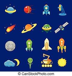 galaxie, vecteur, fusée, soleil, espace, ensemble, ovnis, icônes, planète