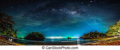 galaxy., étoiles, ciel nuit, sea., manière, laiteux, paysage