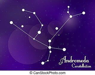 galaxy., groupe, sky., étoiles, profond, nuit, illustration, constellation., vecteur, étoilé, andromède, space.