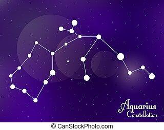 galaxy., groupe, sky., étoiles, profond, nuit, illustration, constellation., vecteur, étoilé, verseau, space.