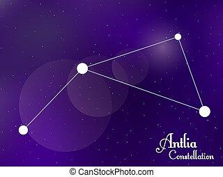 galaxy., groupe, sky., antlia, étoiles, profond, nuit, illustration, constellation., vecteur, étoilé, space.