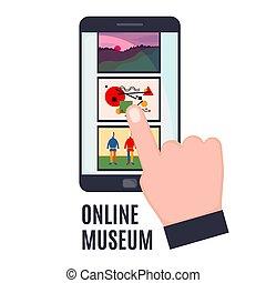 galerie, blanc, plat, mobile, isolé, arrière-plan., écran, style, art, téléphone