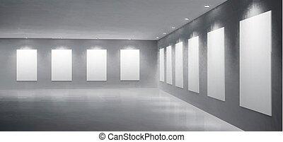 galerie, musée, réaliste, vecteur, exposition, salle