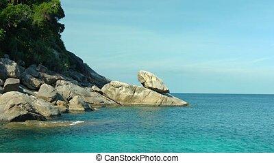 galets, beau, massif, plage tropicale, asie