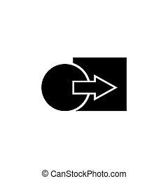 game., illustration., gabarit, ui, icône, element., arrière-plan., logique, symbole, carrée, cercle, pédagogique, vecteur, mobile, signe, plat, mettre, carrée, enfants, blanc, simple, toile, noir, conception