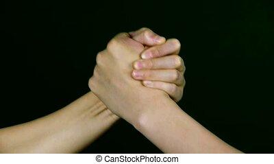 game., main, lutte, deux personnes