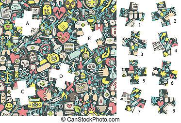 game., medicine:, caché, allumette, morceaux, solution, layer!, visuel