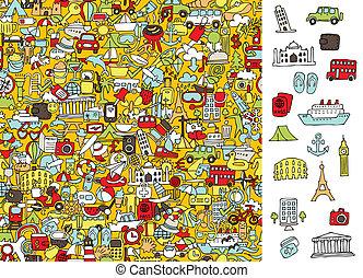 game., voyage, trouver, icônes, droit, layer!, solution, caché, visuel