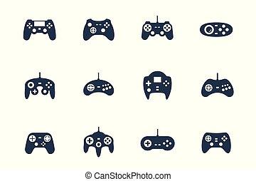 gamepads, vecteur, ensemble, icône