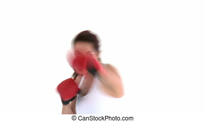gant, femme, hispanique, boxe, porter