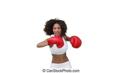 gants, boxe, elle, femme