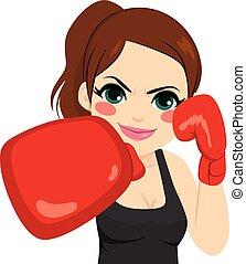 gants, boxe, femme