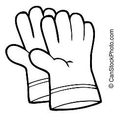 gants, main, jardinage, contour