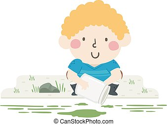 garçon, échantillon, illustration, algues, gosse, obtenir