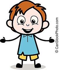 garçon, école, caractère, -, illustration, vecteur, dessin animé, surpris