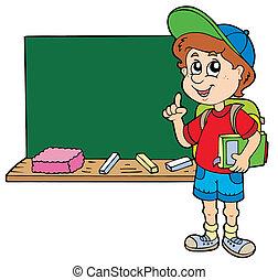 garçon, école, conseiller, tableau noir