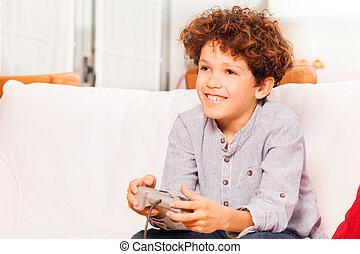 garçon, école, console, après, joyeux, jeu, jouer