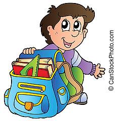 garçon, école, dessin animé, sac